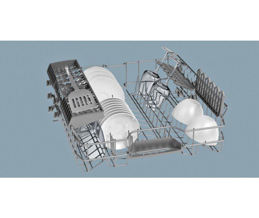De bovenkorf met neerklapbare steunen van de Siemens SN59E501NL inbouw vaatwasser
