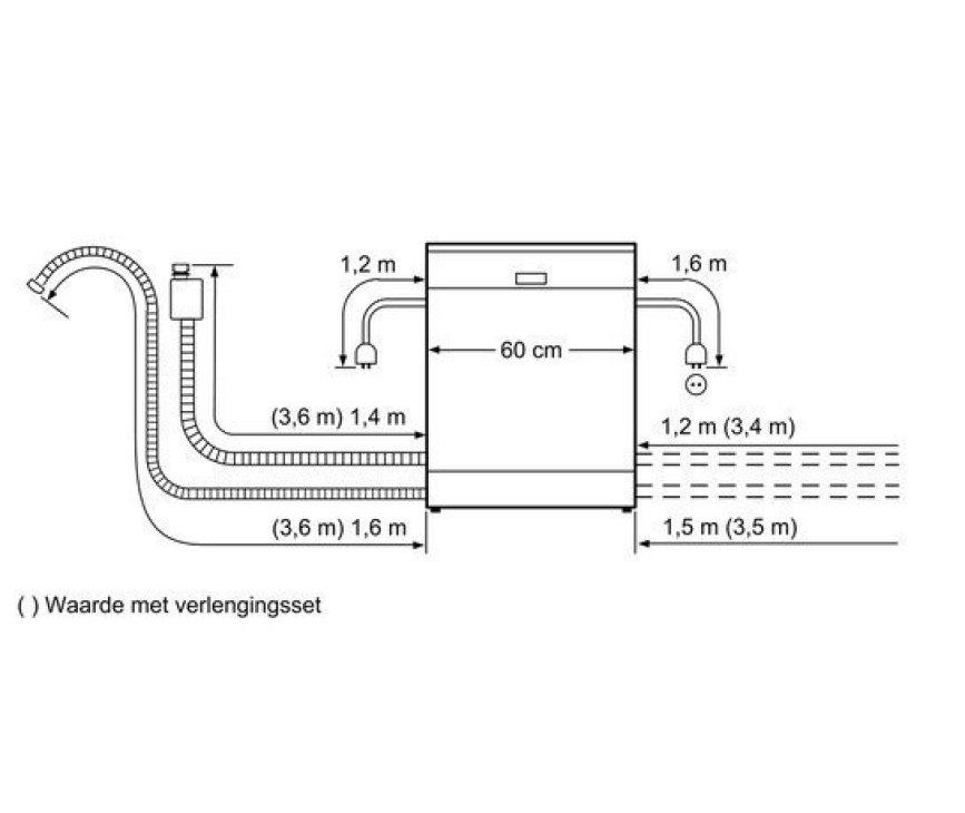 Maattekening van de slangen van de Siemens SX68M058EU