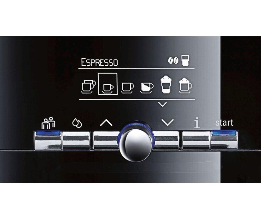 Het bedieningspaneel van de Siemens TE717209RW koffiemachine zwart