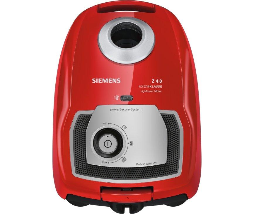 De Siemens VSZ4G232M1 stofzuiger rood heeft een maximaal vermogen van 600 watt