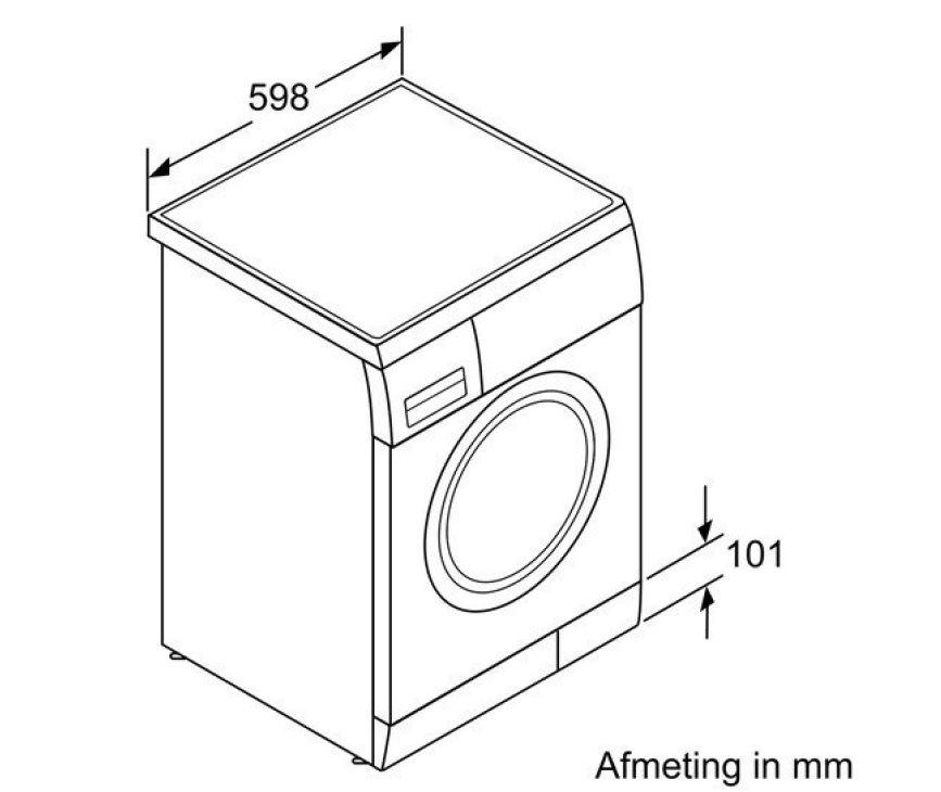 De Siemens WM14E397NL wasmachine beschikt over een plint van 10,1 cm.