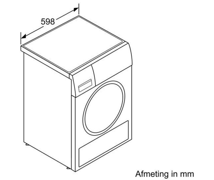 De Siemens WT45W490NL droger warmtepomp is 59,8 cm breed