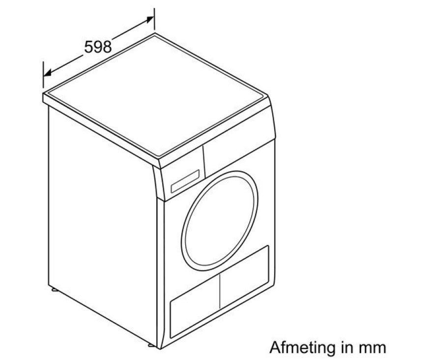 De Siemens WT46W382NL droger warmtepomp is 59,8 cm breed