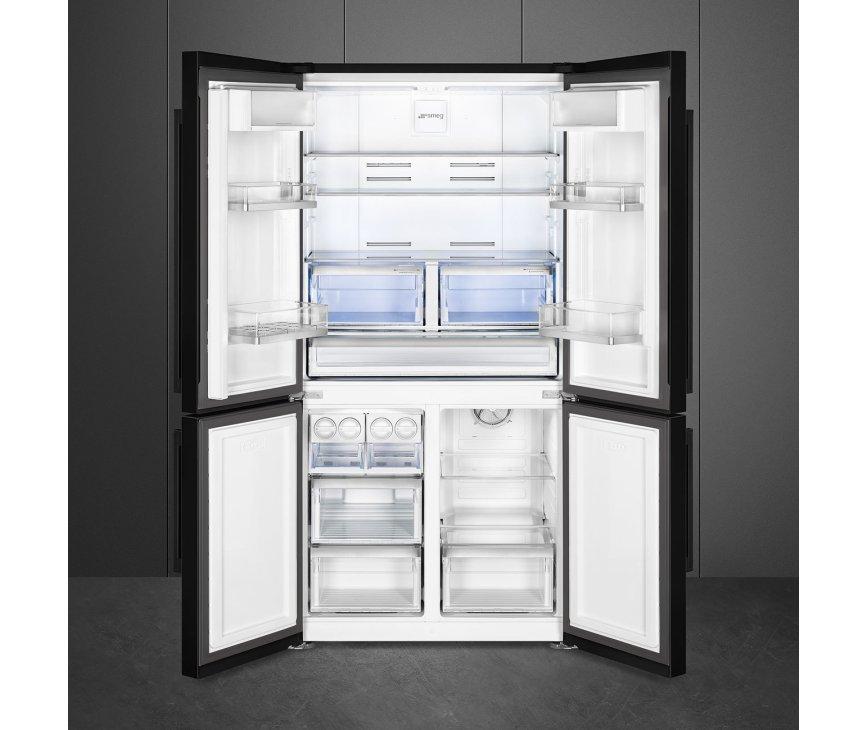 Smeg FQ60NDF side-by-side koelkast - zwart - 4-deurs