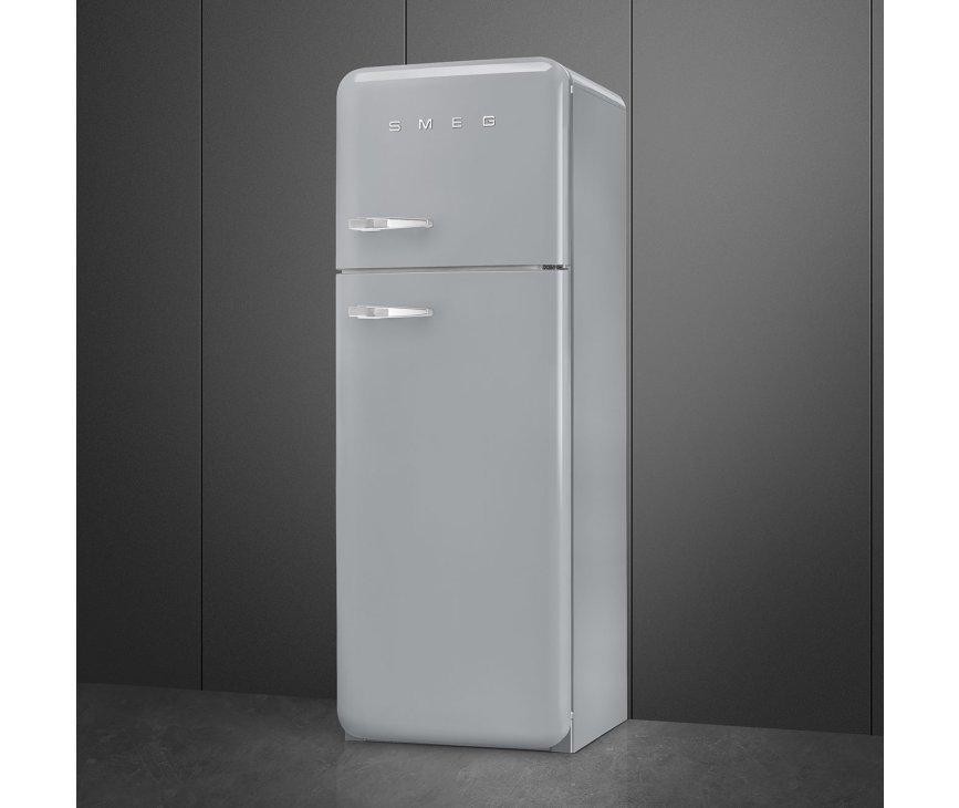 Smeg FAB30RSV5 rechtsdraaiende retro koelkast - zilver metallic