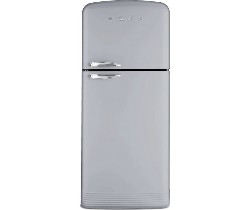 Front aanzicht van de zilvermetalic retro jaren 50 koelkast FAB50X