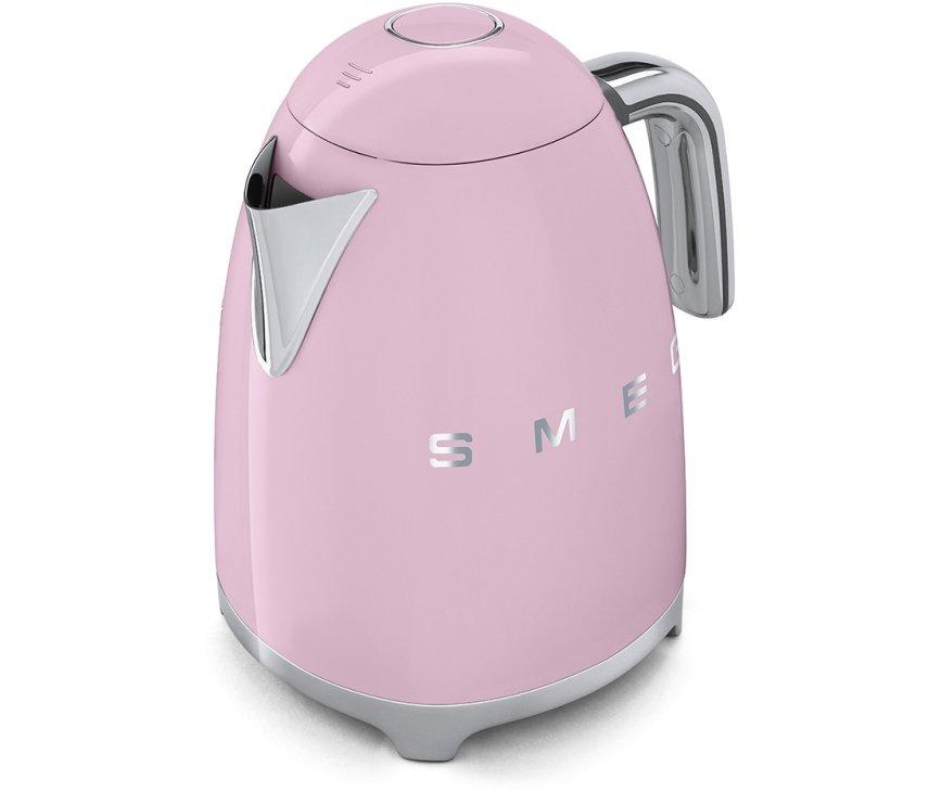De Smeg KLF03PKEU waterkoker roze heeft een rvs schenktuit