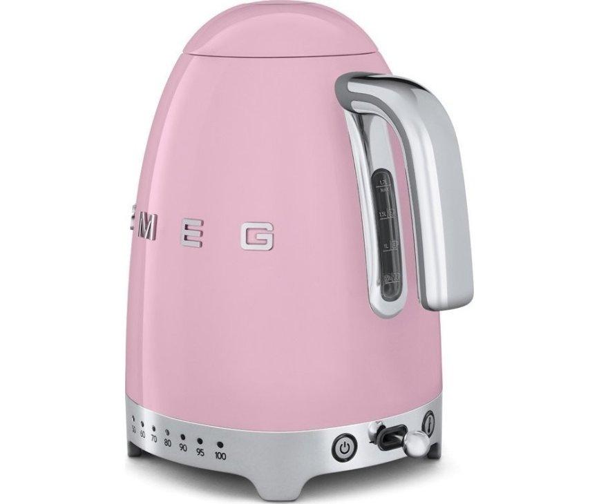 De Smeg KLF04PKEU waterkoker roze heeft een inhoudsindicator op de achterkant
