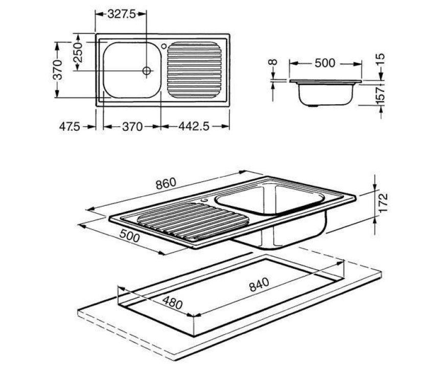 Maattekening Smeg LX861S2 spoelbak