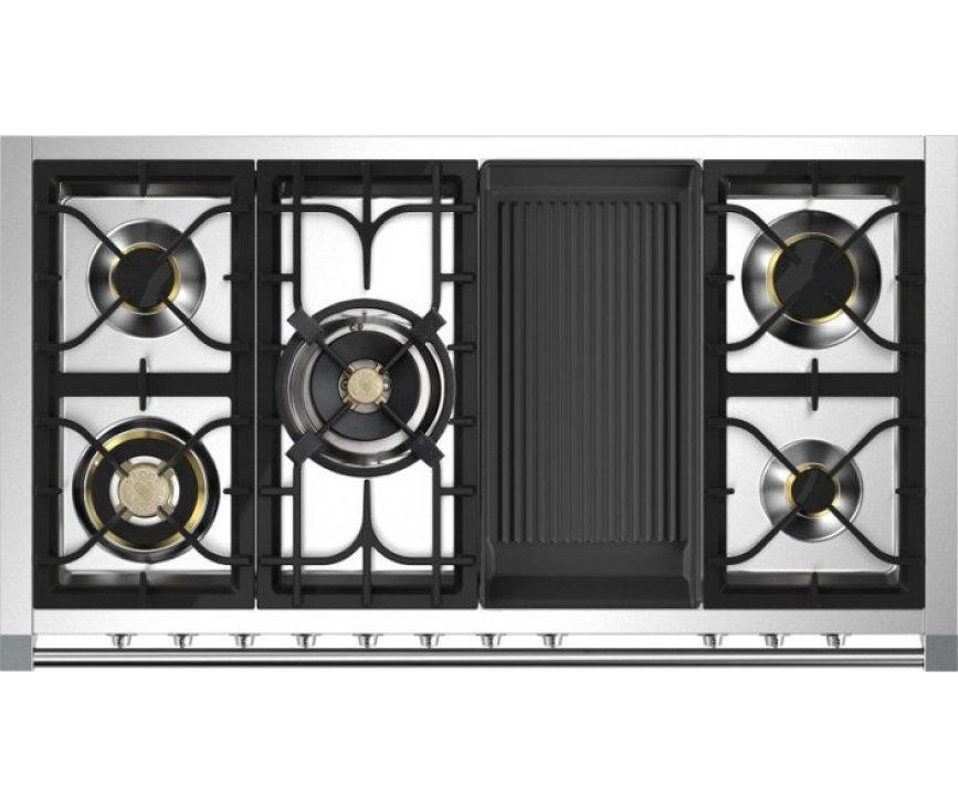 Het kookvlak van de Steel A12FF-4BM is uitgevoerd met 5 gasbranders waaronder een mega wok van 6 kW en een grill top bakplaat