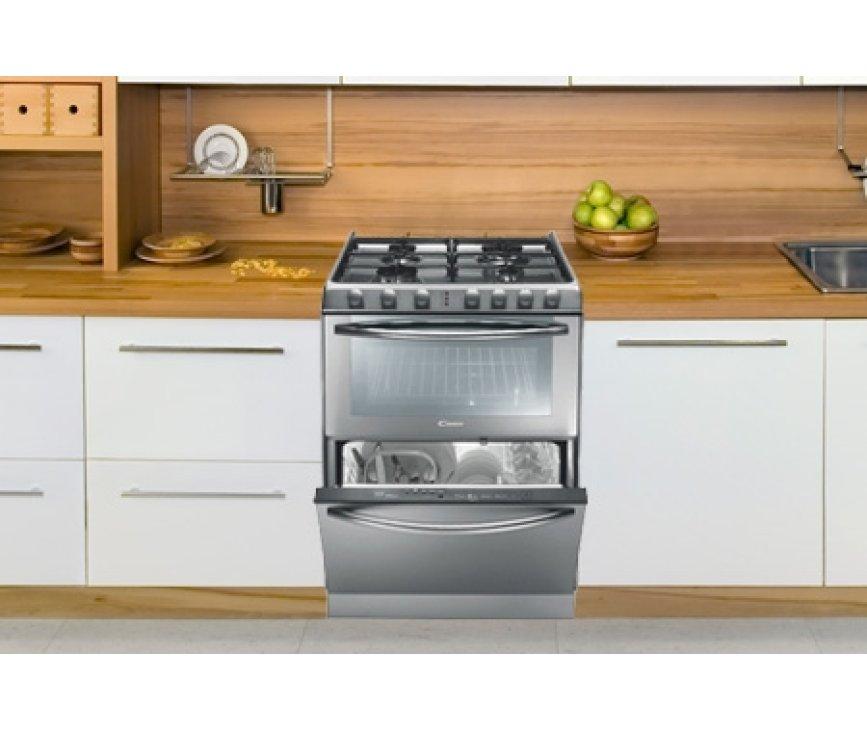 Candy TRIO9501-1X combineert het kookgedeelte, de oven en de vaatwasser is 1 apparaat