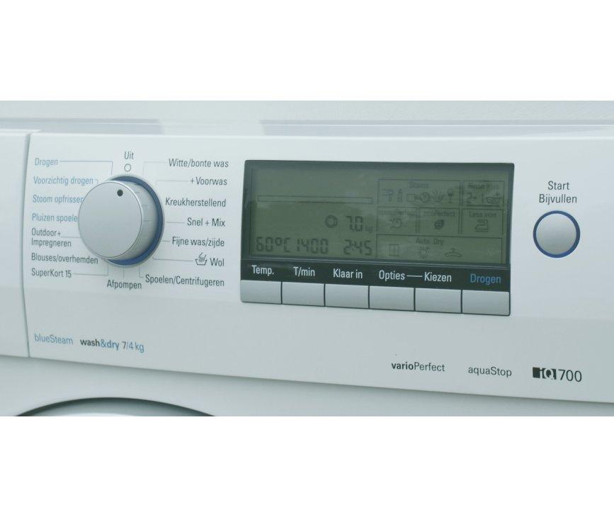 Het bedieningspaneel van de Siemens WD14H541NL was/droogcombinatie