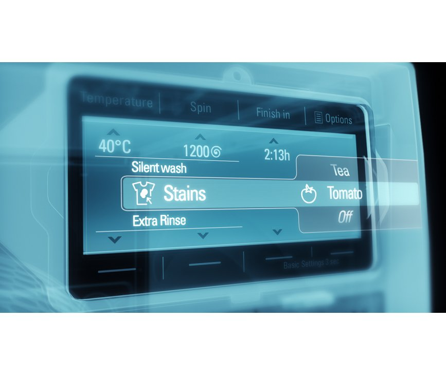 Het display op de Siemens WM16Y841NL ondersteund uw keuze en biedt de mogelijkheid om snel en eenvoudig toerental, temperatuur en starttijd aan te passen