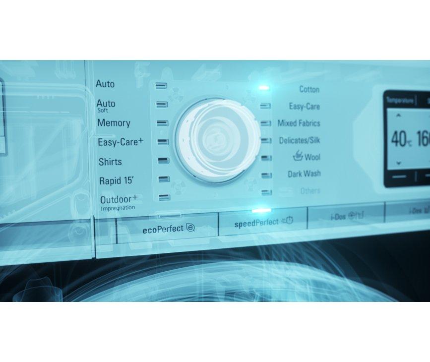 De bediening van de Siemens WM16Y841NL is eenvoudig en vindt plaats met 1 draaiknop waarbij de programma's in Nederlandse tekst zijn weergegeven