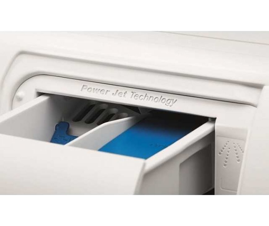 Dankzij het PowerJet systeem in de Zanussi ZWF81663W heeft u een betere oplossing van zeep e.d.