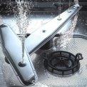 Orbital sproeiarmen op de bodem voor beter afwasresultaat