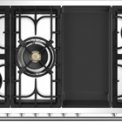 Het kookvlak van de Steel A12FF-4TM is uitgevoerd met 5 gasbranders en een frytop bakplaat