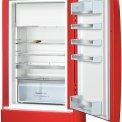De binnenzijde van de Bosch KSL20AR30 koelkast rood