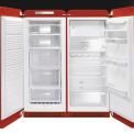 Side-by-side opstelling van de retro SMEG vriezer en koelkast
