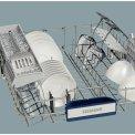 Foto van de bovenkorf van de SIEMENS inbouw vaatwasser SX68M046EU met opstaande bordensteunen
