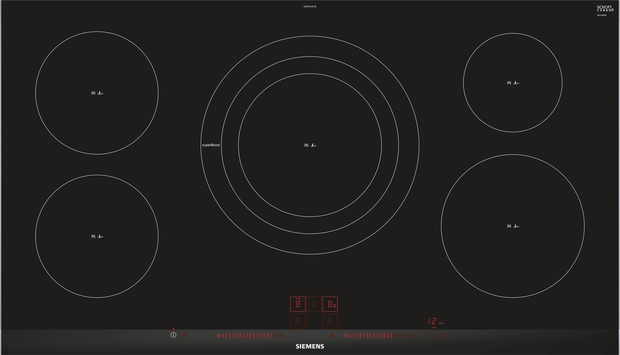 siemens eh975lvc1e inbouw inductie kookplaat. Black Bedroom Furniture Sets. Home Design Ideas