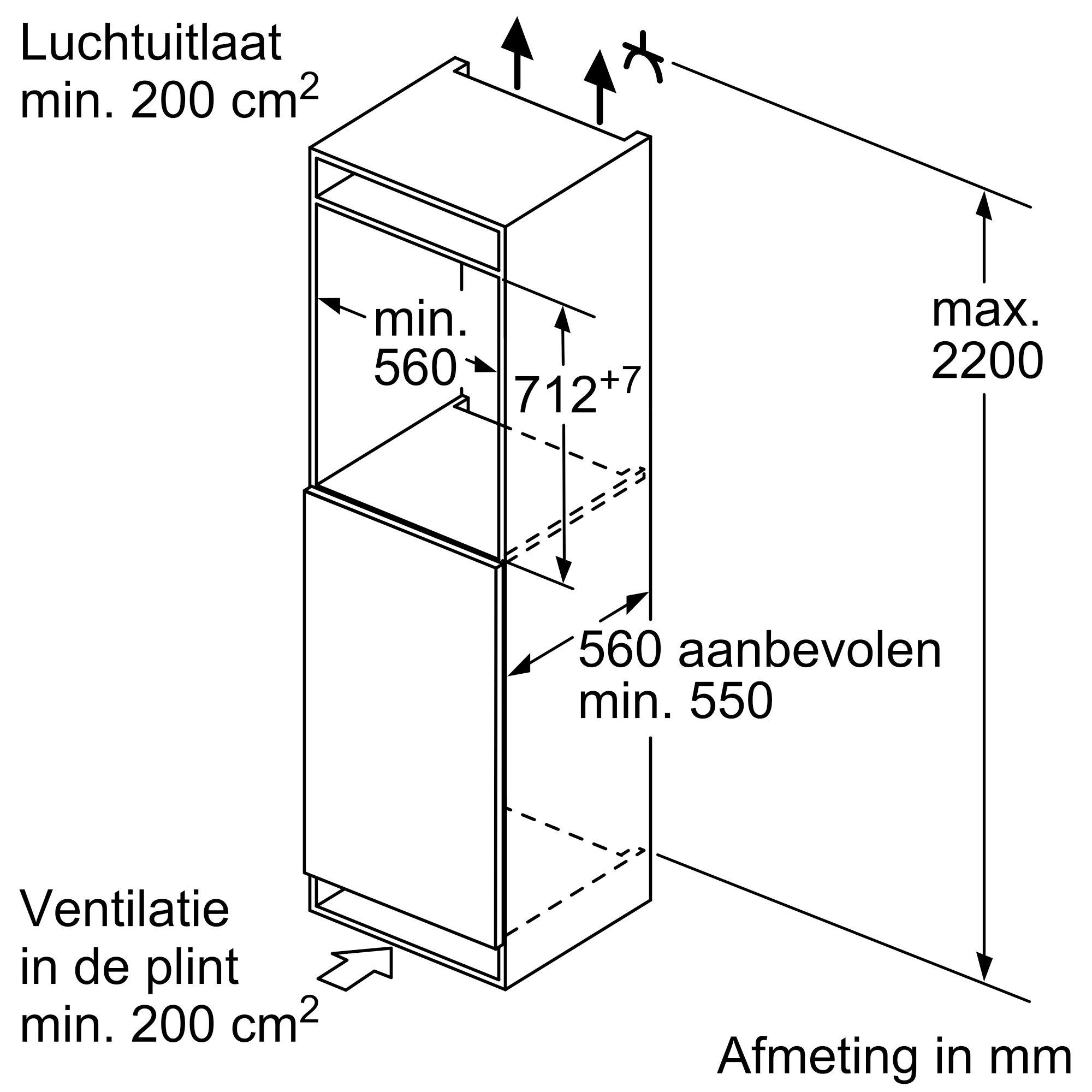 Maten (hoogte, breedte en diepte) van BOSCH vrieskast inbouw GIV11AFE0