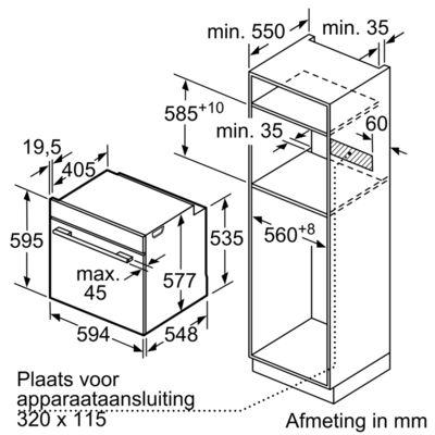 Maten (hoogte, breedte en diepte) van BOSCH oven inbouw HBG6730S1