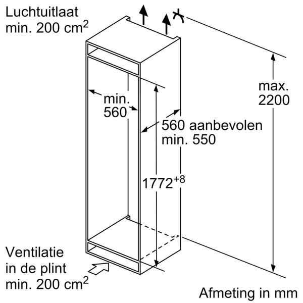 Maten (hoogte, breedte en diepte) BOSCH koelkast inbouw KIN86NSF0