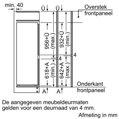 Maten (hoogte, breedte en diepte) van BOSCH koelkast inbouw KIS77AD40