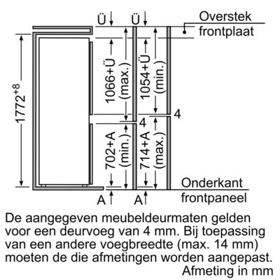 Maten (hoogte, breedte en diepte) van BOSCH koelkast inbouw KIV34V50