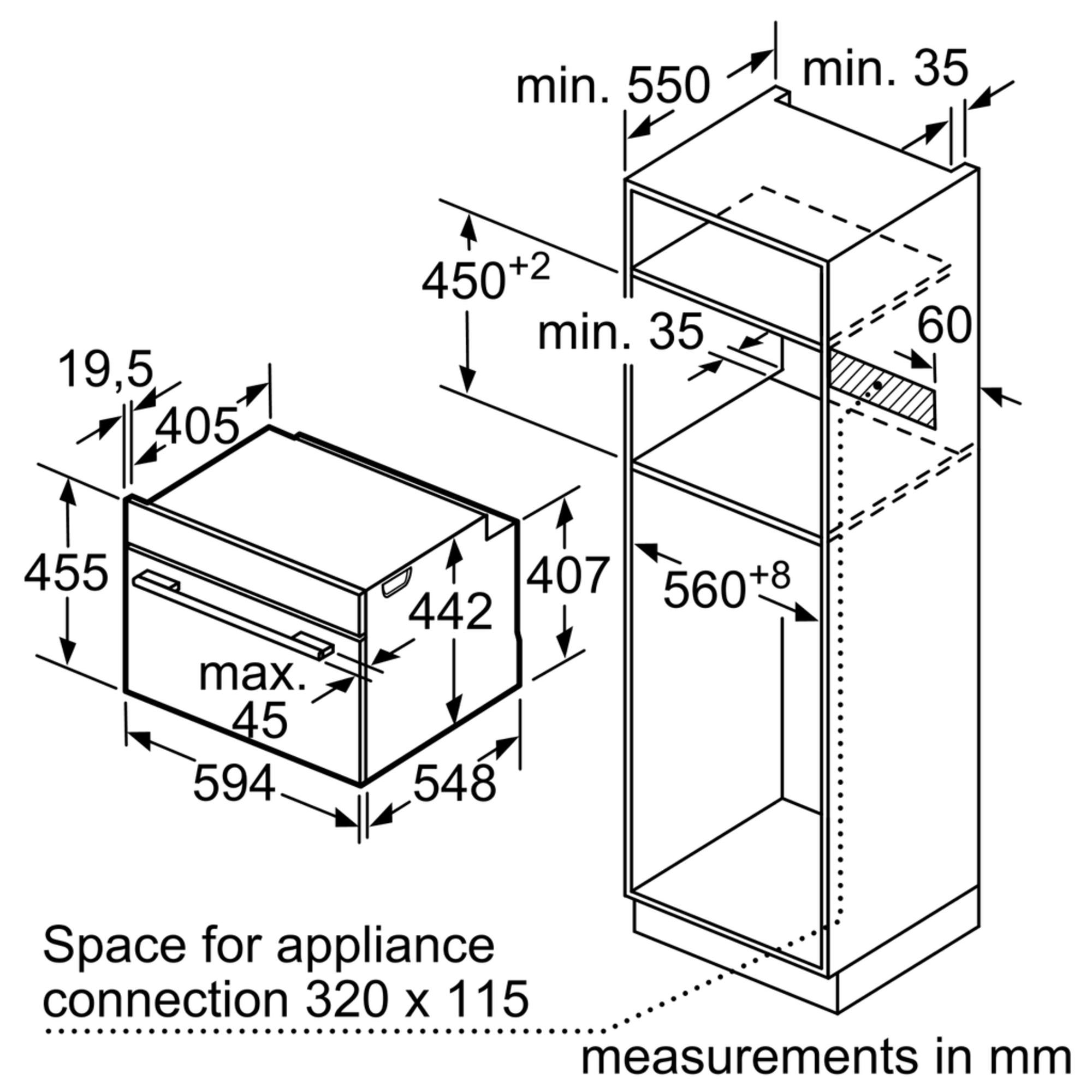 Maten (hoogte, breedte en diepte) van SIEMENS oven inbouw CB675GBS1