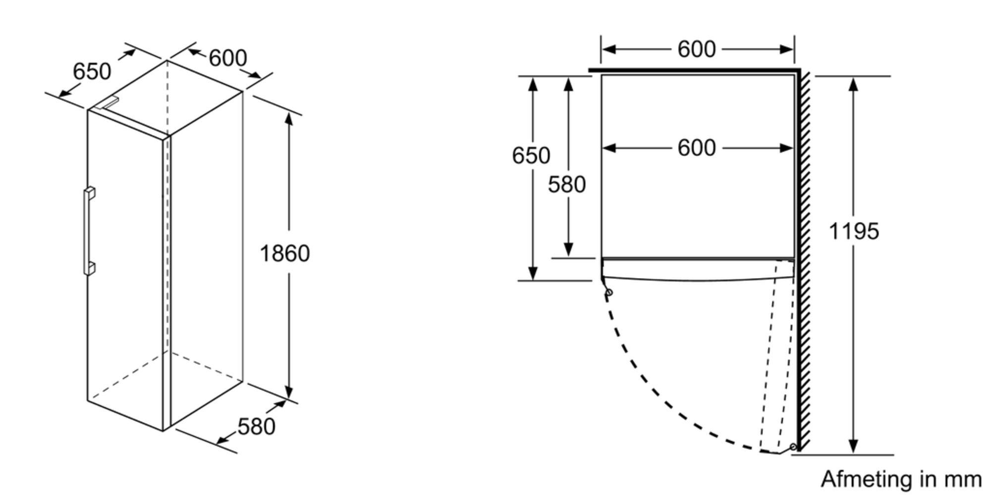 Maten (hoogte, breedte en diepte) van SIEMENS vrieskast GS36NUWFV