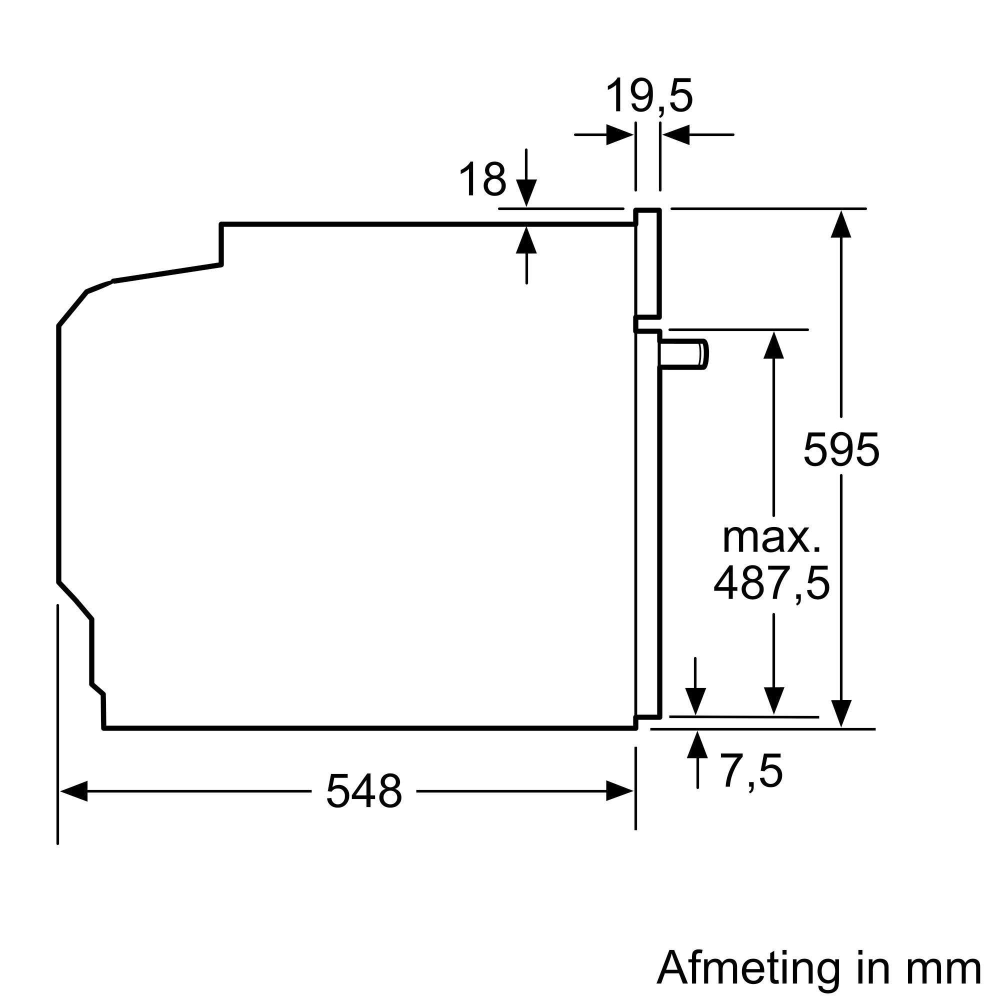 Maten (hoogte, breedte en diepte) van SIEMENS oven met magnetron HM633GNS1