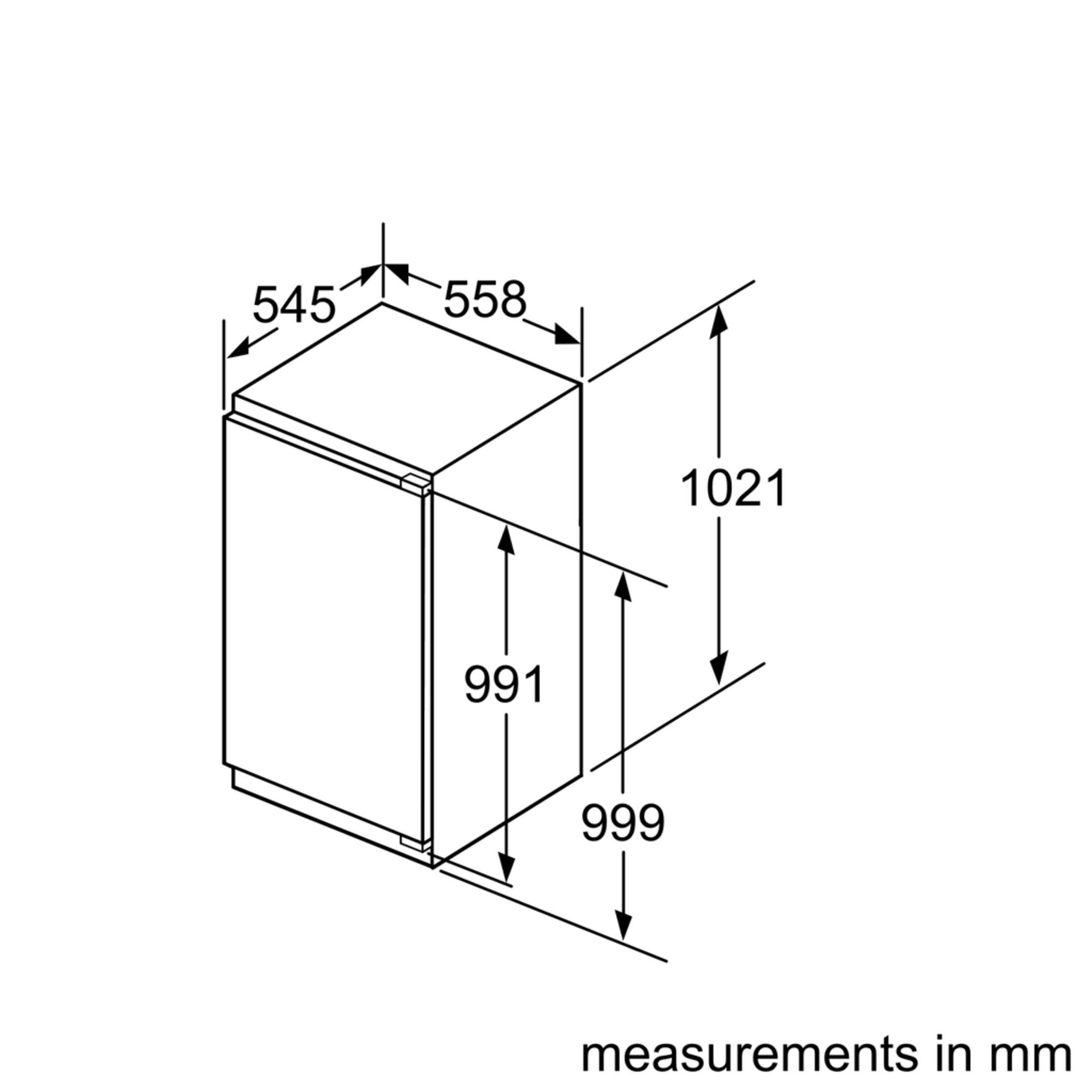 Maten (hoogte, breedte en diepte) van SIEMENS koelkast inbouw KI31RED30