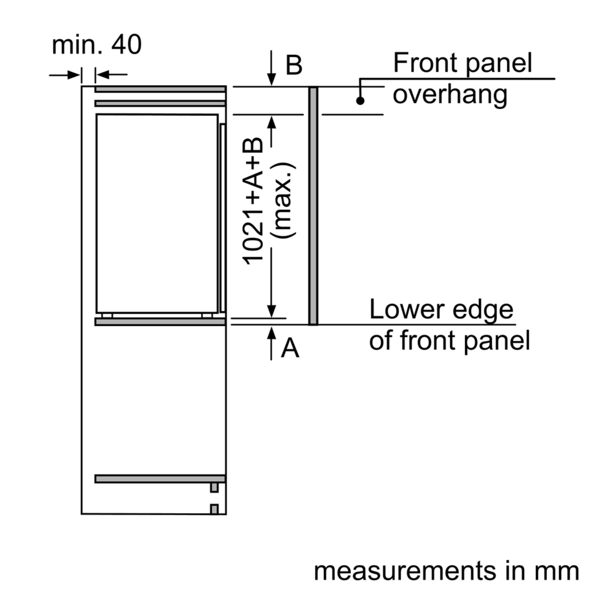 Maten (hoogte, breedte en diepte) van SIEMENS koelkast inbouw KI32LVF30