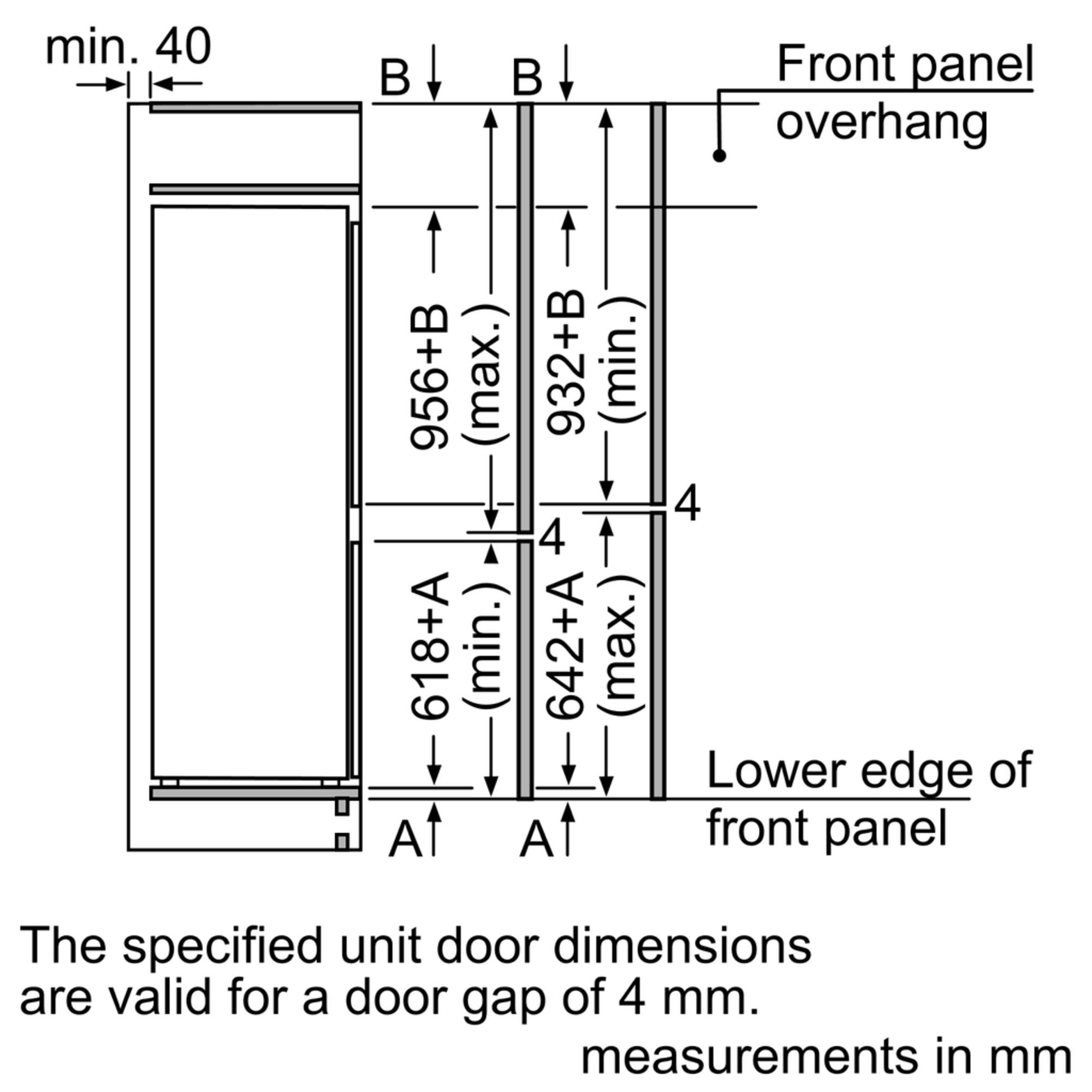 Maten (hoogte, breedte en diepte) van SIEMENS koelkast inbouw KI77SAD30