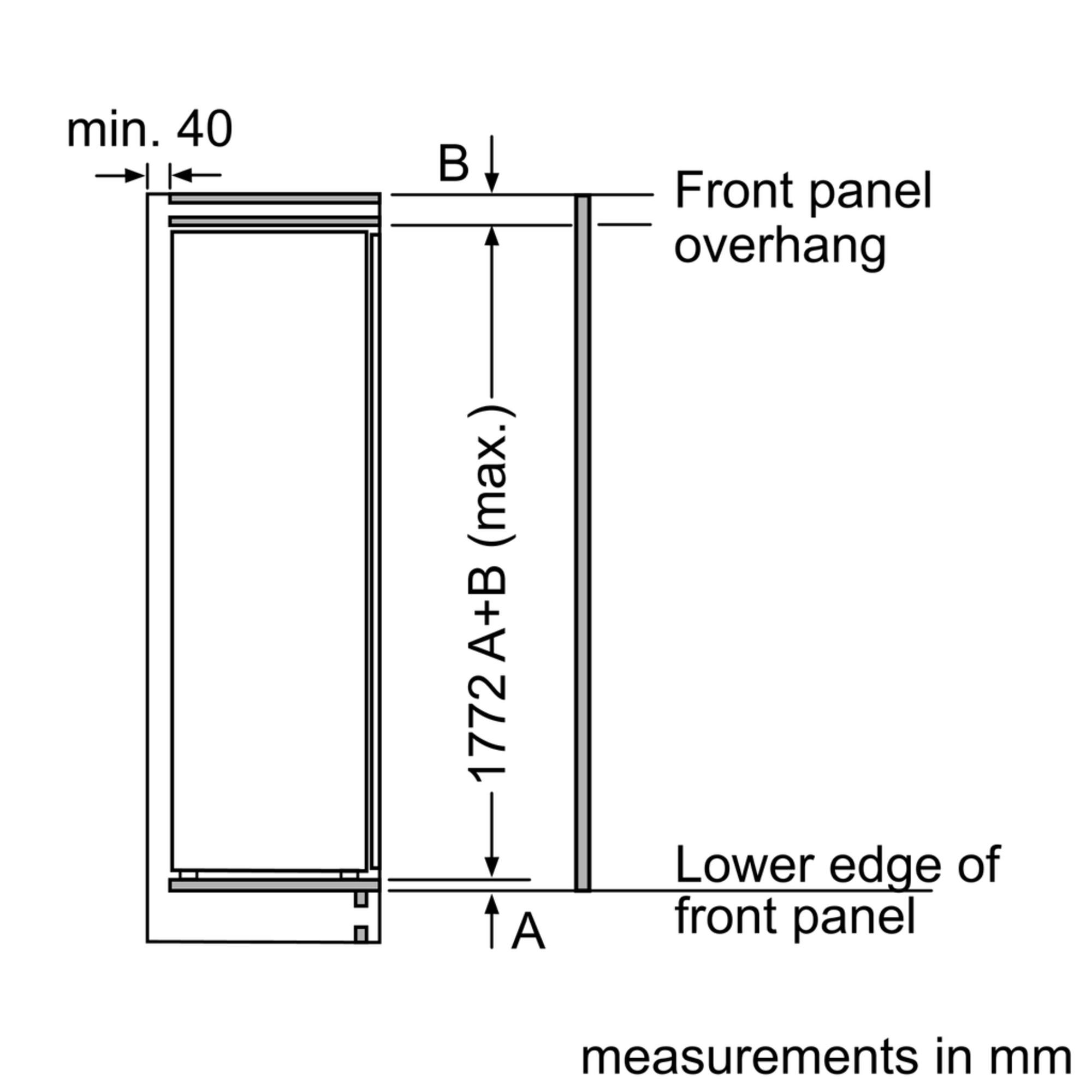 Maten (hoogte, breedte en diepte) van SIEMENS koelkast inbouw KI81RAD30