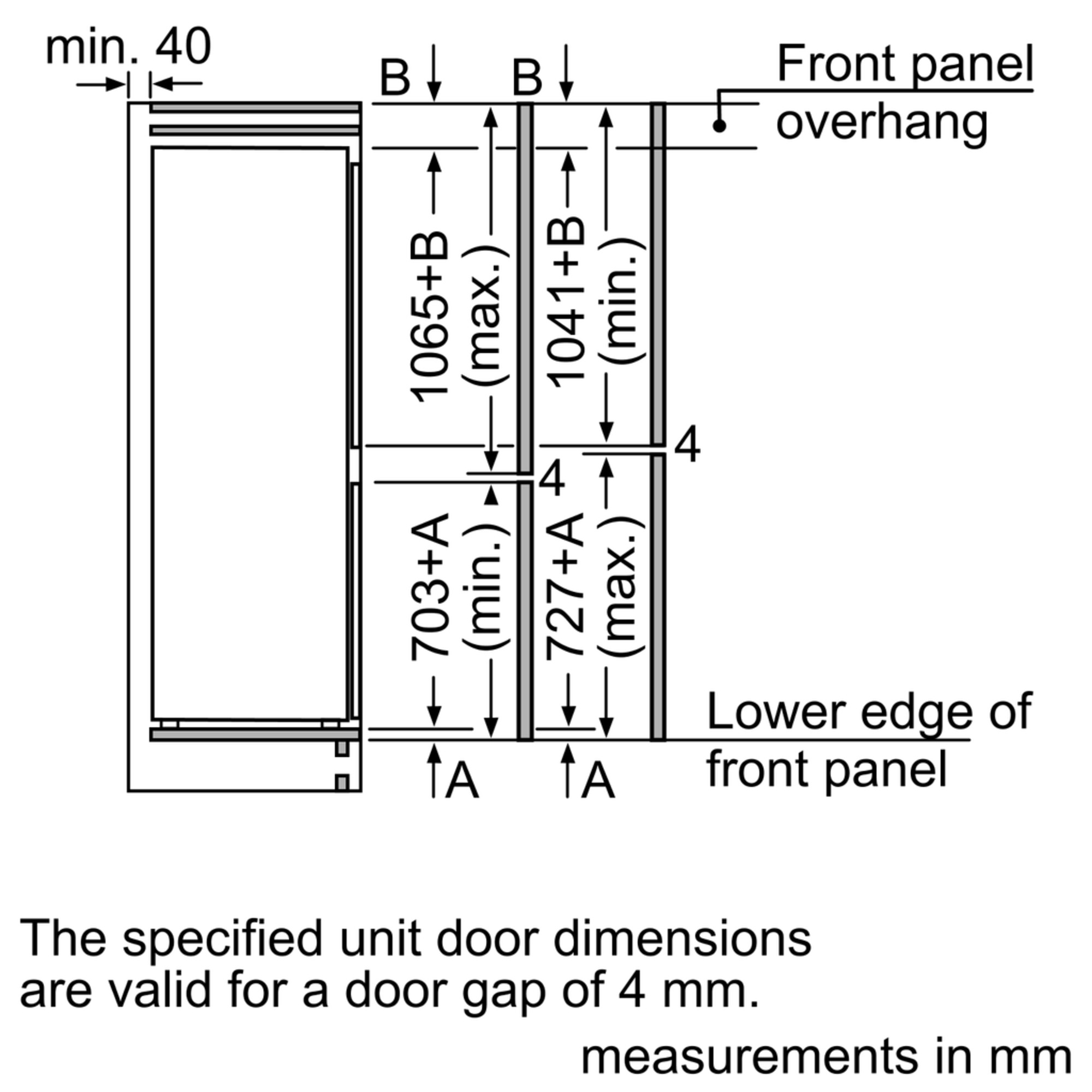 Maten (hoogte, breedte en diepte) van SIEMENS koelkast inbouw KI86SGD30