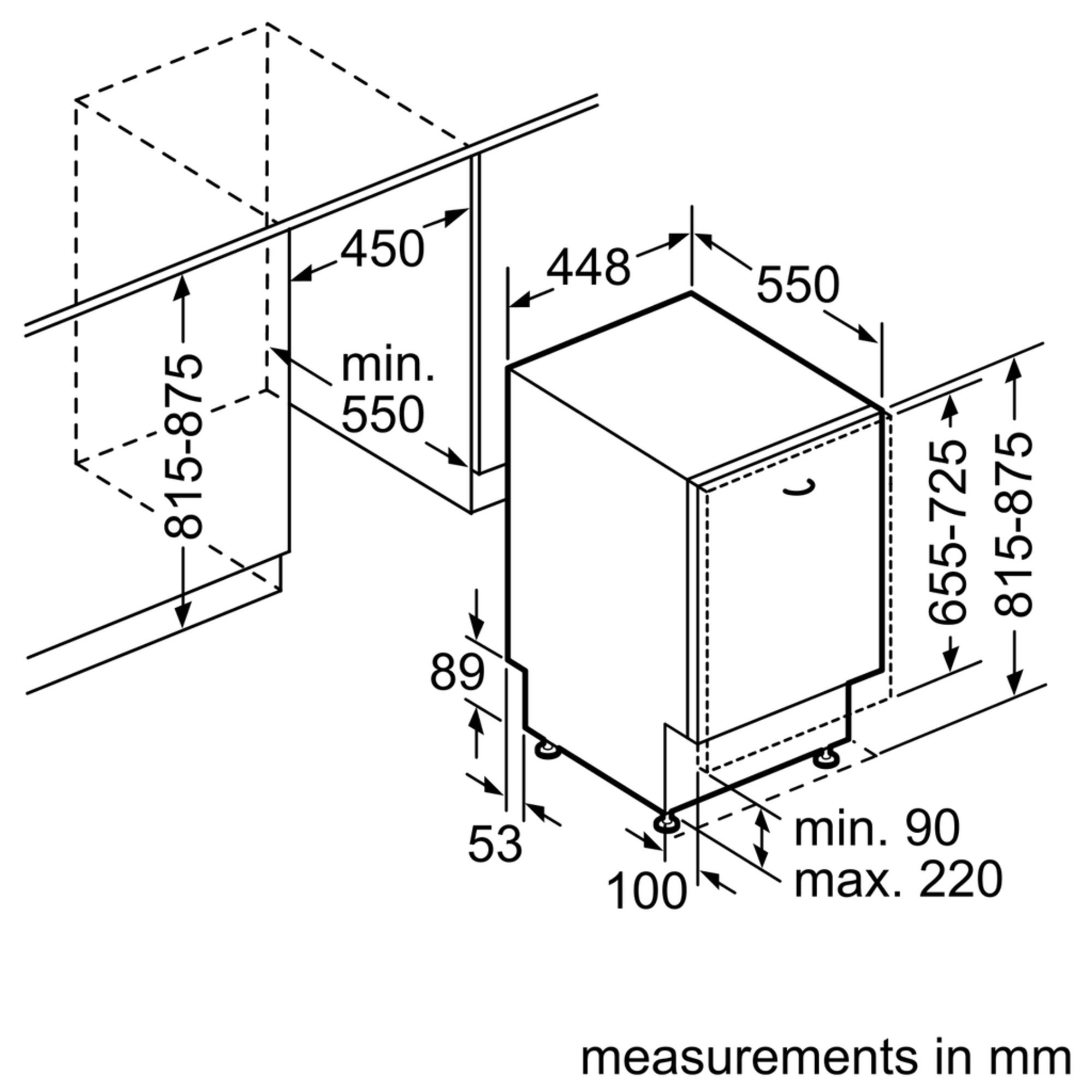 Standaard Afmetingen Inbouw Vaatwasser.Siemens Sr64e004eu