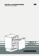 Gebruiksaanwijzing LIEBHERR koelkast onderbouw UIK1550-20