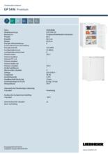 Instructie LIEBHERR vrieskast tafelmodel GP1496-20