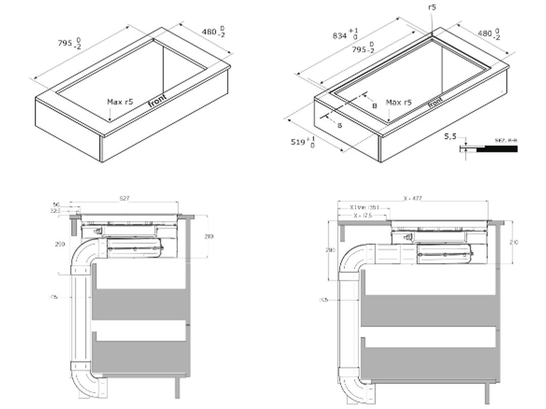 Afmetingen BORETTI inductie kookplaat met afzuiging inbouw MLIH83