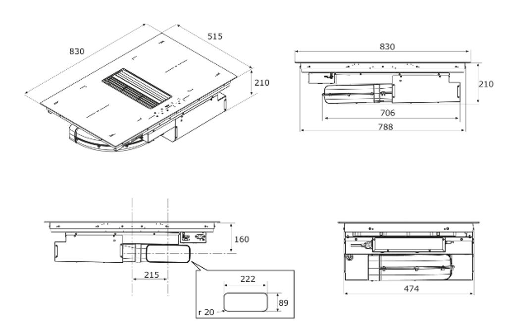 Maattekening BORETTI inductie kookplaat met afzuiging inbouw MLIH83