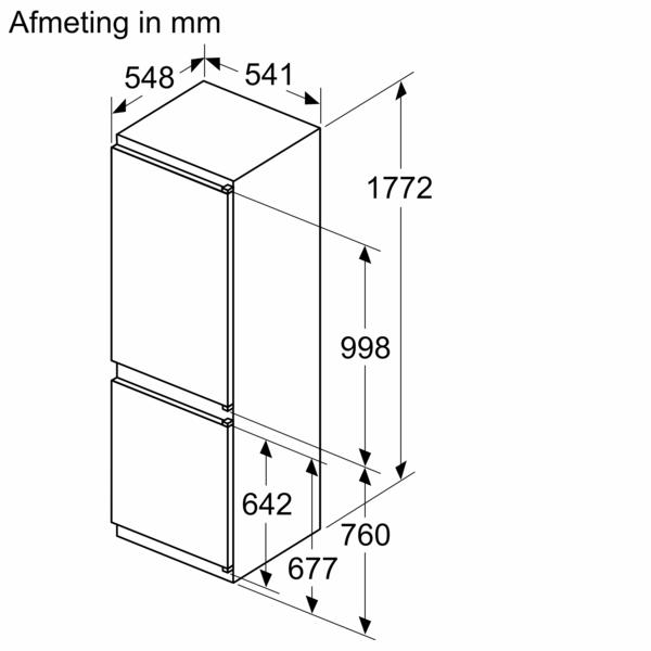 Maattekening BOSCH koelkast inbouw KIN86NSF0