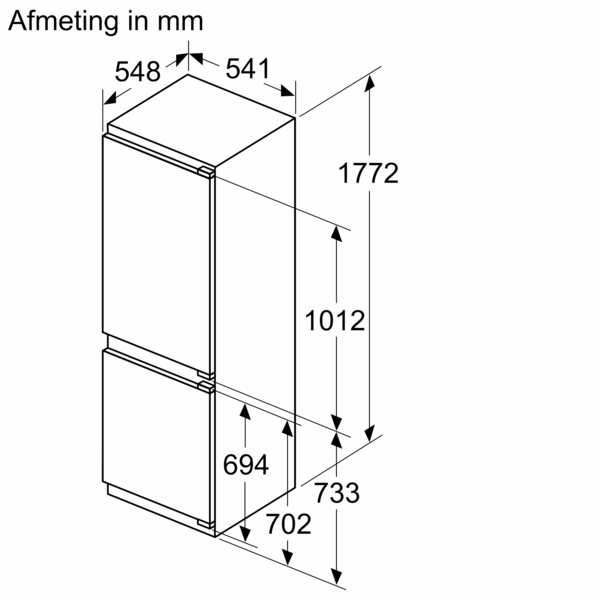 Maattekening BOSCH koelkast inbouw KIN86VFE0