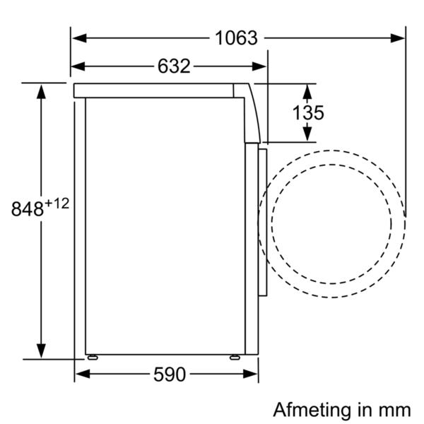 Maattekening BOSCH wasmachine WAV28MH0NL