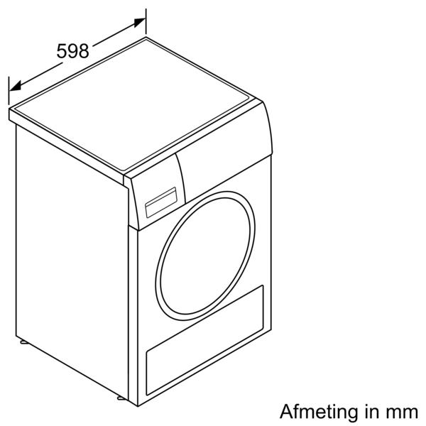 Maattekening BOSCH droger warmtepomp WTXH8M10NL