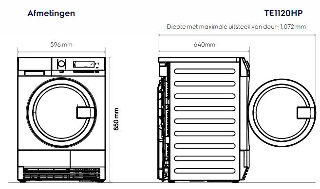 Maattekening ELECTROLUX droger warmtepomp TE1120HP