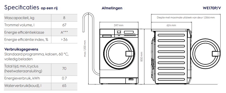 Maattekening ELECTROLUX wasmachine semiprofessioneel WE170P