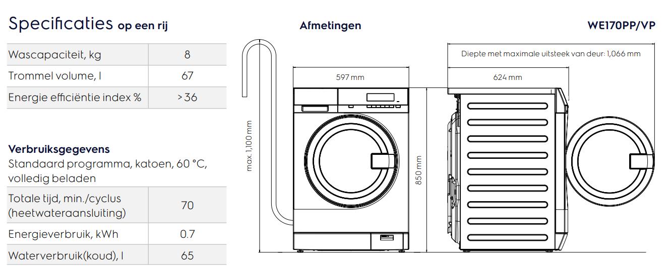 Maattekening ELECTROLUX wasmachine semi-professioneel WE170PP